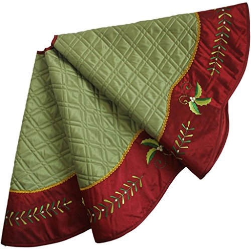 Sorrento Quilted Faux Silk Christmas tree skirt, Holly Leaves Embroidery Border - 50-Inch (Green Skirt Tree)