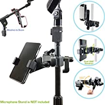AccessoryBasics Music Boom Mic Microphone Stand Smartphone Mount w/360° Swivel Adjust Holder for Apple iPhone XR XS MAX X 8 7 Plus Samsung Galaxy S9 Note Google Pixel XL phones