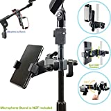 AccessoryBasics Music Boom Mic Microphone Stand Smartphone Mount w/360° Swivel Adjust Holder for Apple iPhone X 8 7 Plus 6s Samsung Galaxy S8 S9 Note Google Pixel XL LG v30 phones