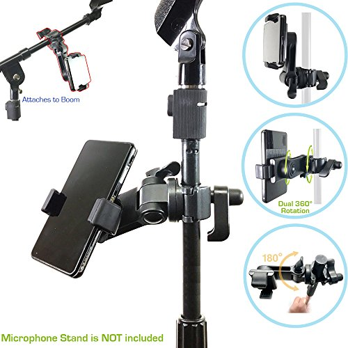 AccessoryBasics Music Boom Mic Microphone Stand Smartphone Mount w/360° Swivel Adjust Holder for Apple iPhone XR XS MAX X 8 7 Plus Samsung Galaxy S9 S10 Note Google Pixel XL phones