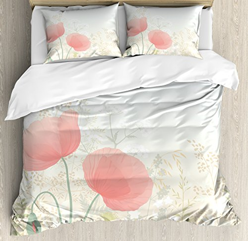 Leaf Single Herb (Pastel Duvet Cover Set Queen Size by Ambesonne, Wild Poppy Blooms with Herbs Twigs Leaves Grass Growth Nature Rural Morning Scenery, Decorative 3 Piece Bedding Set with 2 Pillow Shams, Multicolor)