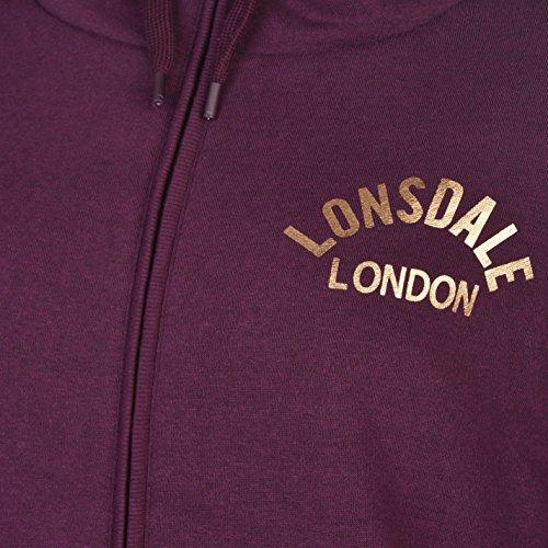 Lonsdale London cremallera completa con Forro Sudadera Con Capucha Para Mujer Berry sudadera con capucha chaqueta Top Ropa deportiva