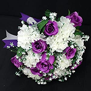 Zebratown 8.7inch Gossamer Bride Holding Flowers Artificial Purple Roses Silk Bridal Bouquet 84