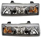 2002-2003-2004 Saturn Vue Headlight Headlamp Halogen Composite (With Black Bezel) Front Head Lamp Light Pair Set Left Driver AND Right Passenger Side (02 03 04)