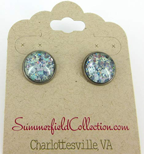 Hematite-tone Mint Green and Silver Glitter Glass Stud Earrings Hand-painted 12mm