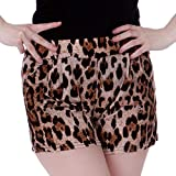 HDE Womens Soft Stretchy Leopard Print Mid Waist Retro leisure Summer Shorts