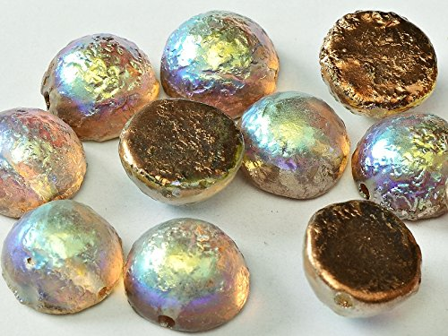 Beads Dome (6pcs Dome Bead 12x7mm Czech Pressed Glass, Crystal Etched Copper Rainbow)