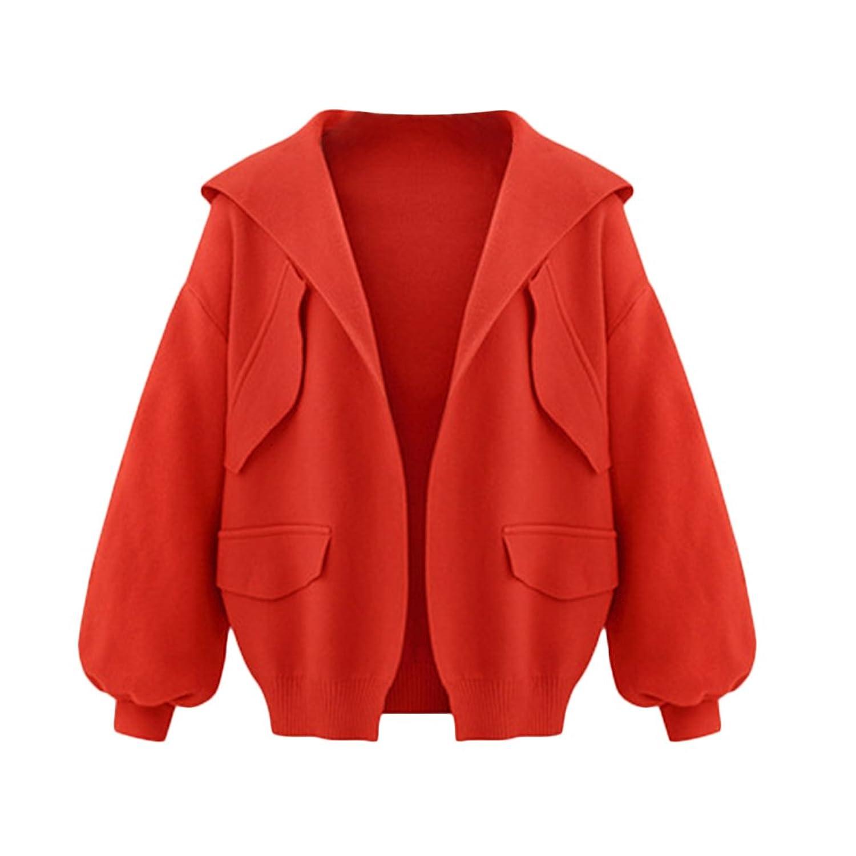 Women Casual Cute Loose Puff Sleeve Hooded Open Front Short Coat Jacket Outwear