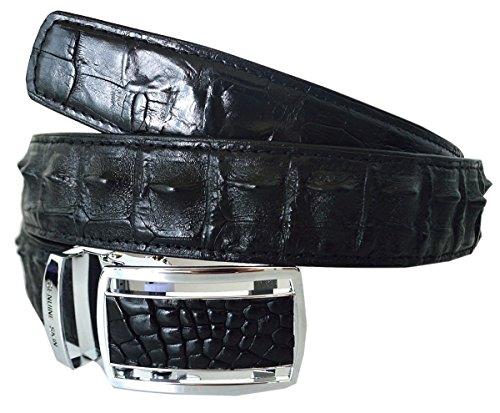 Hornback Crocodile Belt (Authentic River Crocodile Skin Men's Hornback Soft Skin Black Belt)
