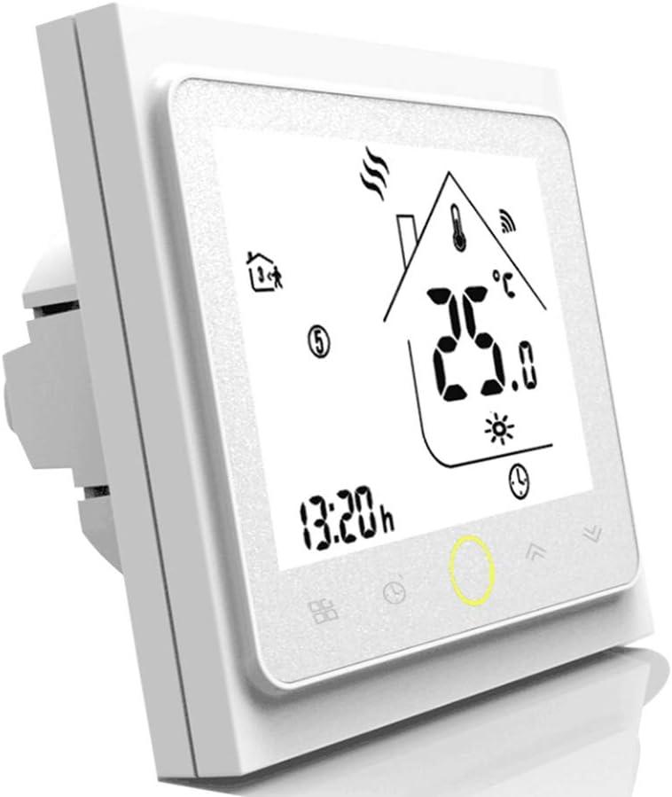 Qiumi Termostato WiFi inteligente controlador de temperatura para calefacción por suelo radiante eléctrico funciona con Amazon Alexa, Google Home IFTTT 16A 95~240V AC