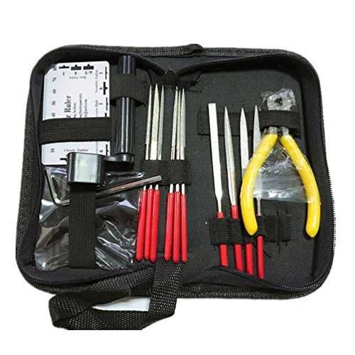 ODETOJOY Professional Guitar Tools Kit Care Tool Repair Maintenance Tech Kit Set for Acoustic Electric Bass Guitar Toolkit with Allen keys Winder String Cutting Pliers Action Ruler Files by hpep-music