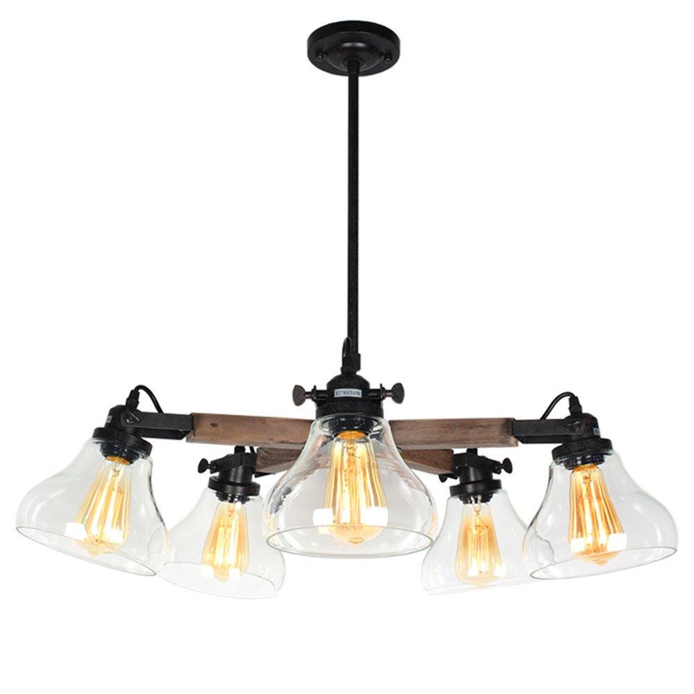 Baiwaiz Rustic Glass Chandelier Ceiling Light, Metal and Wood Vintage Pendant Lights Fitting Industrial Hanging Lights 5 Lights Edison E27 054 Baiwaiz Lighting BW17054