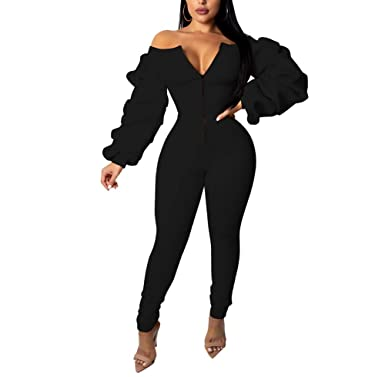 01b3e7ad0b5b ShelbiDamon Womens Off Shoulder Ruffle Long Sleeve Front Zipper Jumpsuit  Bodycon Long Pants Rompers Outfit Black
