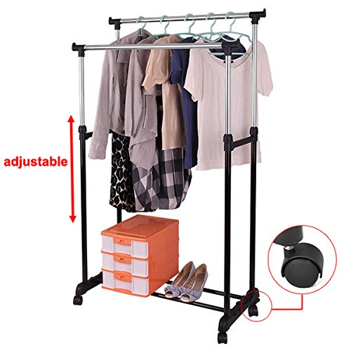 Yaheetech Double Adjustable Clothes Hanging Rail & Shoe Cloth Stand Rack Organizer