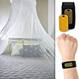 Mosquito Net with Bonus Repellent Bracelet and Carry Pouch- Extra Large 98 inches in height King Size Bed - Hanging Kit Included Money Back Guarantee