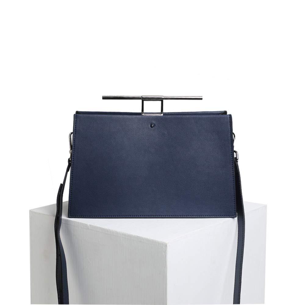 ハンドバッグ シンプルでスタイリッシュな女性のヴィンテージレザークラッチトートバッグショルダーバッグ人格ポータブルクロスボディハンドバッグ付きストラップ日常の週末レジャーバッグ (色 : 青) B07QJ2WPDF 青