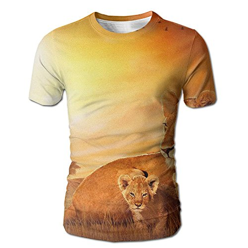 Shirley The Kings Of Africa Men's Realistic 3D Printed T-Shirt O Neck Short Sleeve Tee by Shirley