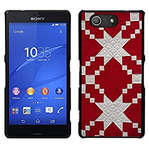 A-type Arte & diseño plástico duro Fundas Cover Cubre Hard Case Cover para Sony Xperia Z3 Compact / Z3 Mini (Not Z3) (Pattern Jewish Red White Fabric)