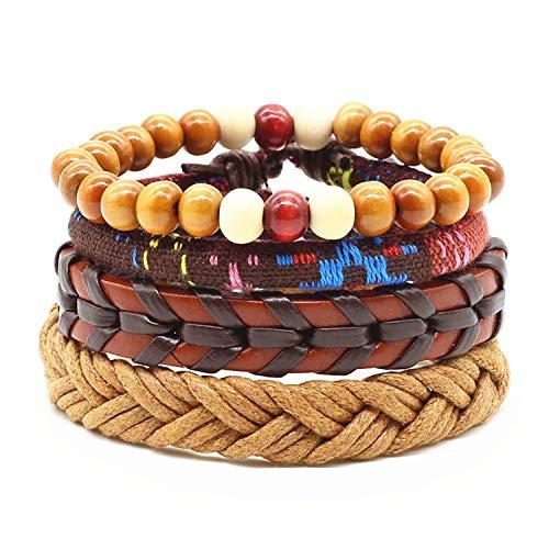 Hot Sale 4 pieces/set of handmade fashion trend retro women MALE wood beads jewelry men's leather bracelet women's ()