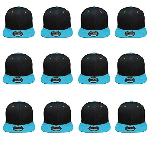Blank Apparel - Gelante Plain Blank Flat Brim Adjustable Snapback Baseball Caps Wholesale LOT 12 Pack (Black/Teal)