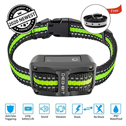 DB DEGBIT Bark Collar [2020 Newest][Long Battery Life], No-False Dog Bark Collar with 3 Modes 1-5 Sensitivity Levels, Rechargeable Stop Barking Bark Control Shock Collar for Small Medium Large Dog