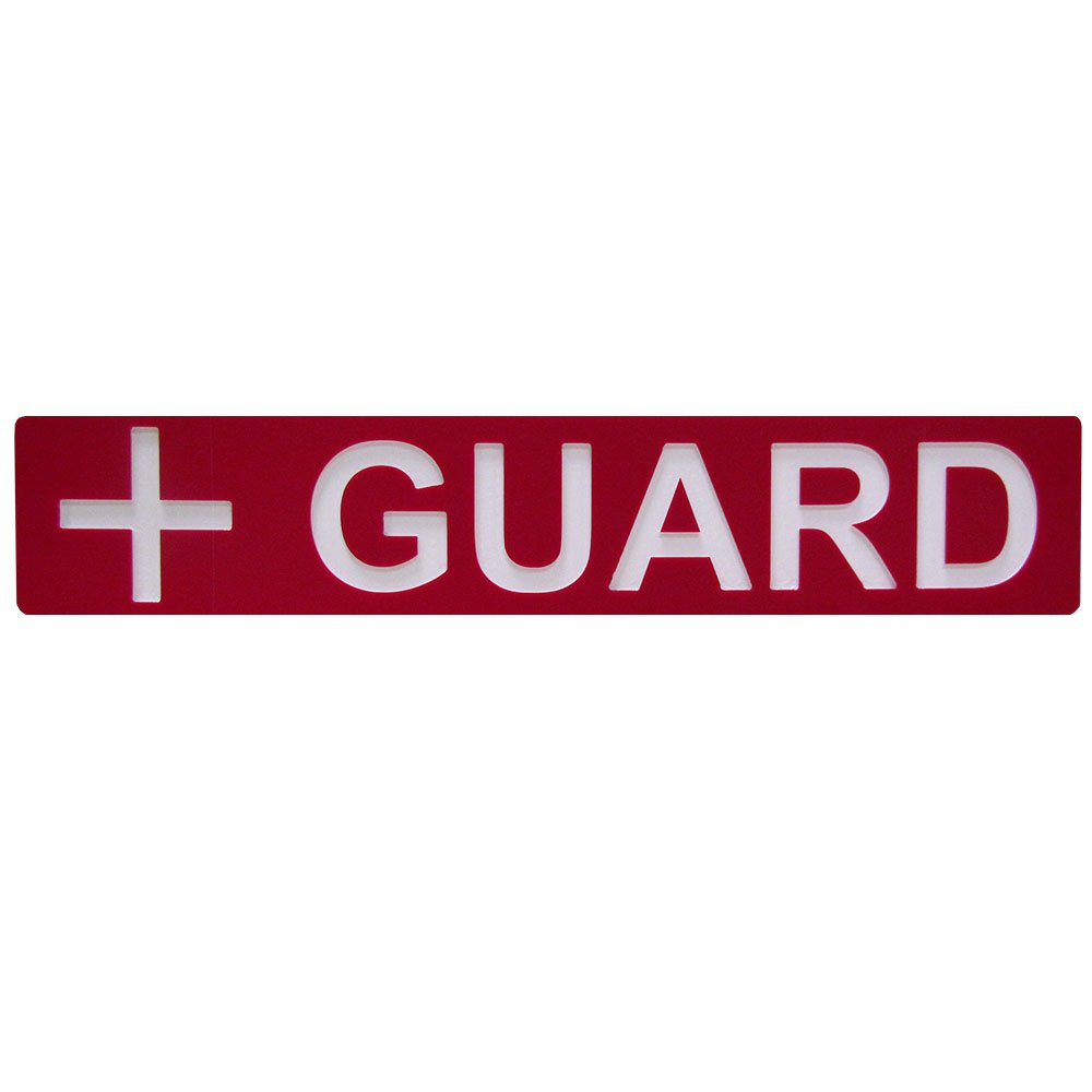 Engraved Guard Sign 18 x 3 Inches Red (for Rear of Lifeguard Chair) by Aquatic Technology, Inc.
