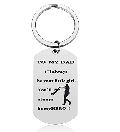 Father's Day Gifts for Dad from Daughter - I'll Always be Your Little Girl  You Will Always be My Hero Dad Keychain Gift Father Daughter Gift, Dad