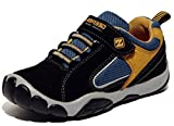 DADAWEN Boy's Leather Casual Outdoor Breathable Running Shoes Sneakers(Toddler/Little Kid/Big Kid) Black US Size 5 M Big Kid