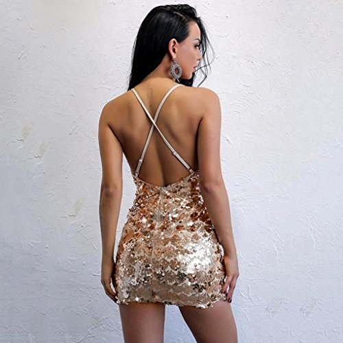 paillettes Abito Sexy Angelof Ricamo Abiti Mini Backless sera Beige Donna Fiori con da Off Dress senza spalline Chic Shoulder dtSxSAq0
