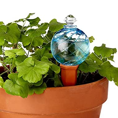 Plant Nanny Spiral Fluted Blue Watering Globe 12 oz. (blue)