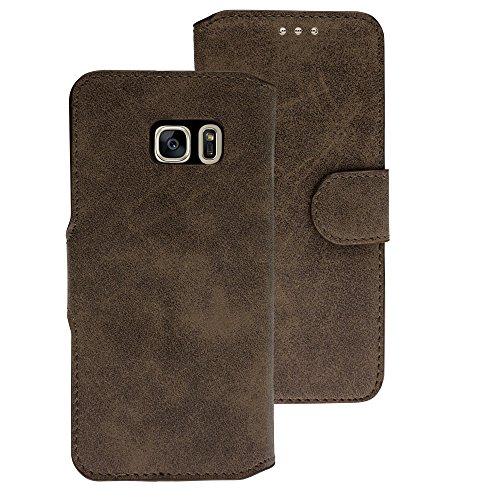 Handy Schutz Tasche Geldbeutel Hülle Flip Case Etui Samsung Galaxy S7 Braun