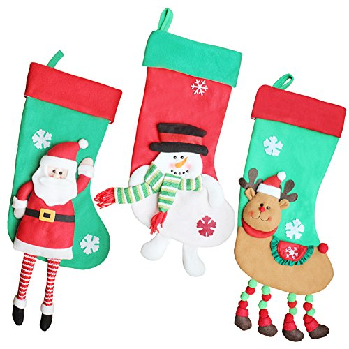 GZDDG 18-Inch Burlap Christmas Stockings Sef of 3 Holiday Fireplace Decoration by GZDDG