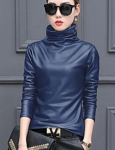 Mujer Camiseta Extragrande Sólido Yfltz Para Alto De otoño Blue Estilo Color Algodón invierno Cuello Chic BqwP0dwt