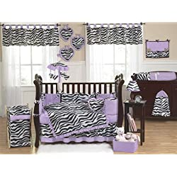 Sweet Jojo Designs Purple and Funky Zebra Animal Print Baby Girl Bedding 9pc Crib Set