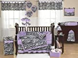 Sweet Jojo Designs Purple and Funky Zebra Animal Print Baby Girl Bedding 9pc Crib Set