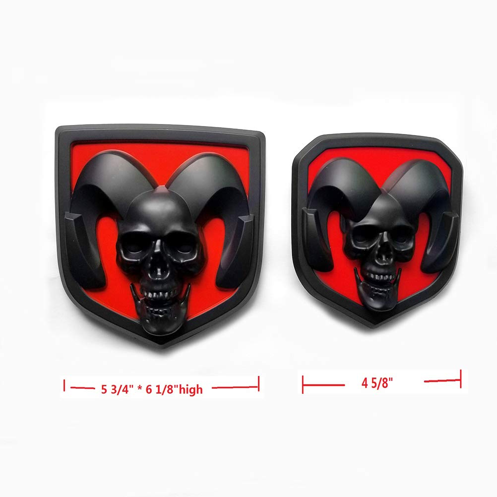 2pcs OEM Front Grille Emblem and Rear Tailgate Badge 3D Skull Replacement for Ram 1500 2500 3500 Black Red fit 2013-2018
