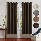 FAIRY HOUSE Window Treatment Thermal Insulated Solid Grommet Blackout Curtains/Drapes for Bedroom (2-Pack,52by 72 Long, Chocolate)