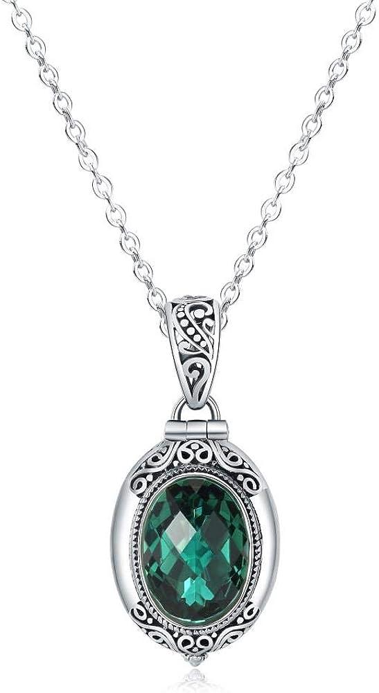 NA Collar S925 Plata Ga Caja Negra Colgante De Cristal Verde Plata Tailandesa con Incrustaciones De Piedra Antigua Moda Temperamento Joyería Femenina