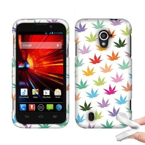 Nextkin ZTE Source N9511/ Majesty Z796C Silicone Skin Soft TPU Gel Protector Cover Case - Colorful Marijuana Leaf