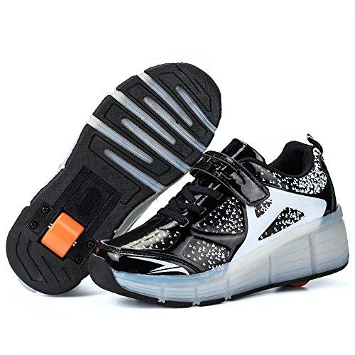 (Believed 2017 Wheely's LED Light Sneakers Boy Girl Roller Skate Casual Shoe Adult Unisex Pulley Shoes(Black 40 EU/9 B(M) US Women / 6.5 D(M) US Men) )