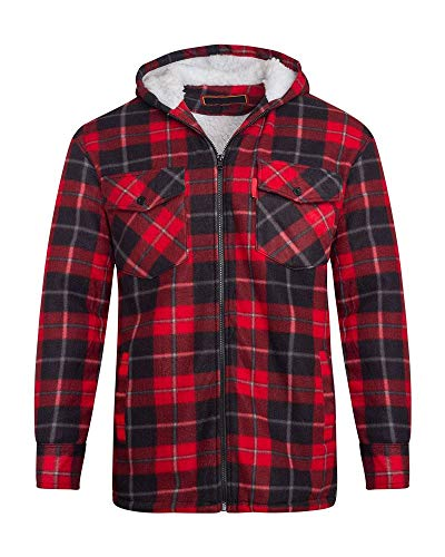 (Unisex Mens Fleece Sherpa Fur Lined Lumberjack Hood Check Quilted Thermal Shirt [RED/Black (Hooded) M])