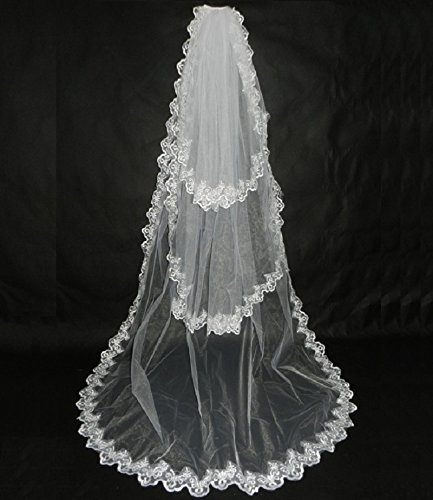 Aukmla 3 Tiers Chapel Length Bridal Wedding Veil with Lace Edge and Comb, 103 Inches (Ivory)