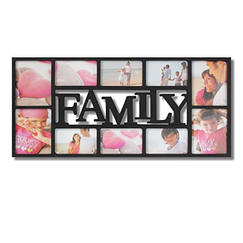 Collage Family Black Picture Frames Large Decorative,Wall Hanging Photo Frame,10 Openings,4x6 and 5x7 inches Photos