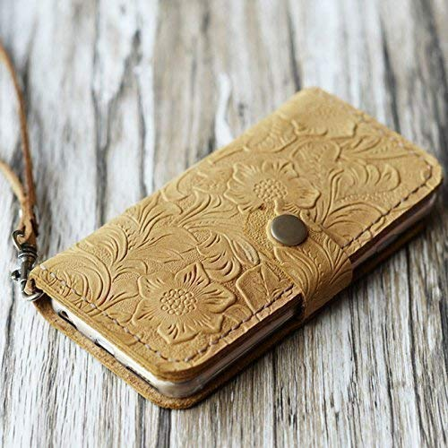 Leather iPhone xs/xs max/xr / 8/8 Plus / 7/7 plus / 6 / 6s / 6 plus / 6s Plus / 5 / 5s / SE wallet Case - Italian distressed oiled leather flower patterns (Tan Pattern)
