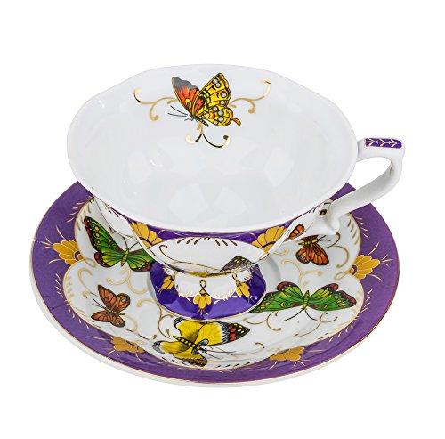"Fine Porcelain ""Summer Butterflies"" Tea Cup and Saucer Set, Vintage Royal Coffee Cup Set, Ceramic Afternoon Tea Set"