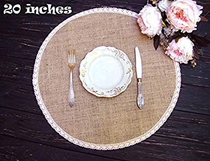 Amazoncom Burlap Placemat With Ivory Lace Round 20 Inches Holiday