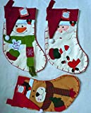 "Set of 18"" Santa, Snowman & Reindeer Christmas Holiday Stockings with Hanging Tag"