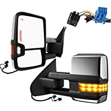 Nova Towing Mirrors for 03-06 Chevy GMC Silverado Sierra Tahoe Truck Towing Power Heated Side Mirrors Turn Signal Smoke lens+ LED Signal Lights + Backup Light Chrome Cover Pair 2003 2004 2005 2006
