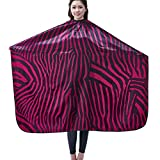 Salon Professional Hair Styling Cape, Colorfulife® Adult Hair Cutting Coloring Styling Waterproof Cape Satin Hairdresser Wai Cloth Barber Gown Home Camps & Hairdressing Wrap Zebra Pattern Capes K007 (Purple)