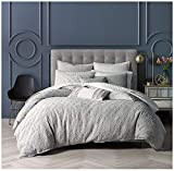 Nicole Miller King Duvet Cover Set 100% Cotton Matelasse, Light Grey, Gray Medallion Bohemian Textured Bedding